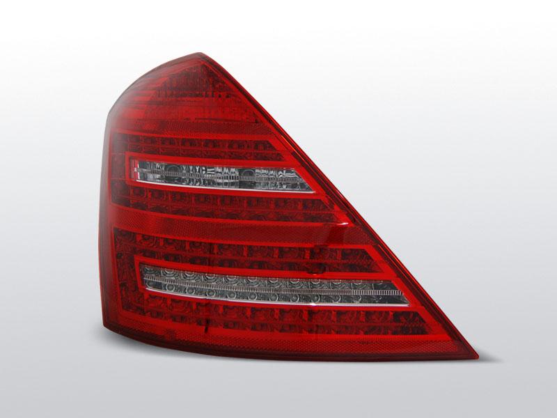 Zadní světla diodové, MERCEDES W221 S-KLASSE, 2005-2009, ČERVENÁ BÍLÝ LED