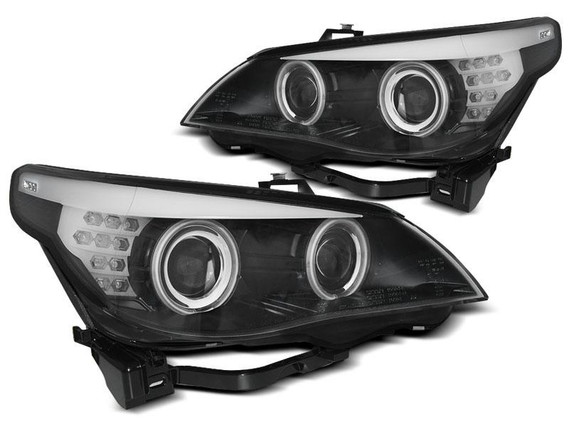 Přední světla, BMW 5 E60/E61, 2003-2007, ANGEL EYES CCFL BLACK LED INDIC.