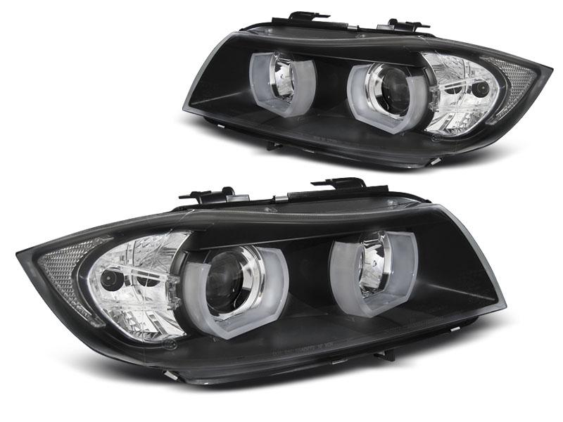 Přední světla, BMW 3 E90/E91, 2005-2008, 3D U-TYPE LED BLACK