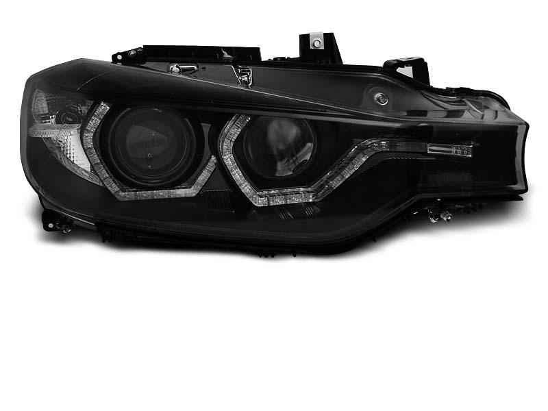Přední světla, BMW 3 F30/F31, 2011-2015, ANGEL EYES LED BLACK DRL