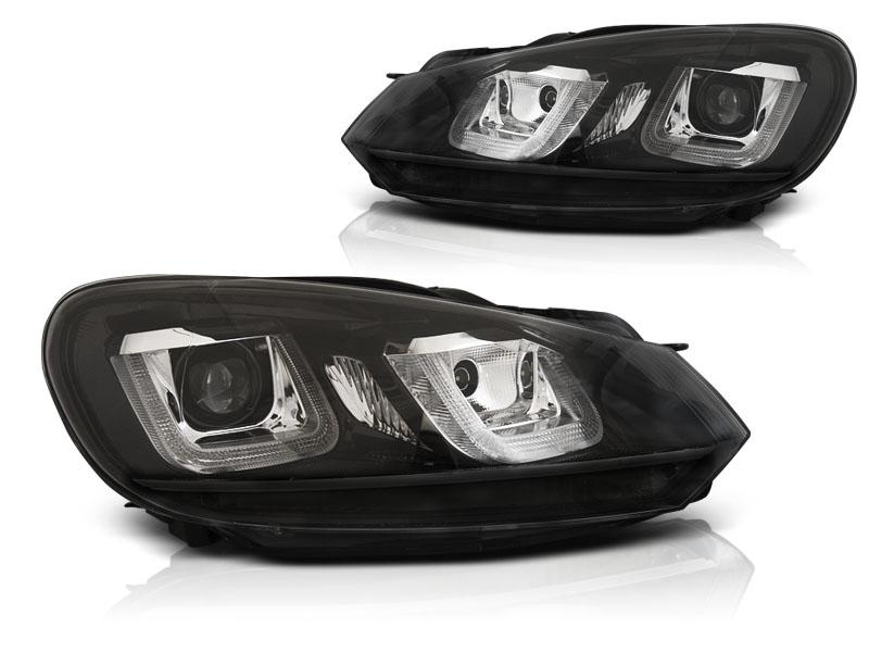 Přední světla, VW GOLF 6, 2008-2012, U-TYPE BLACK BLACK LINE DRL