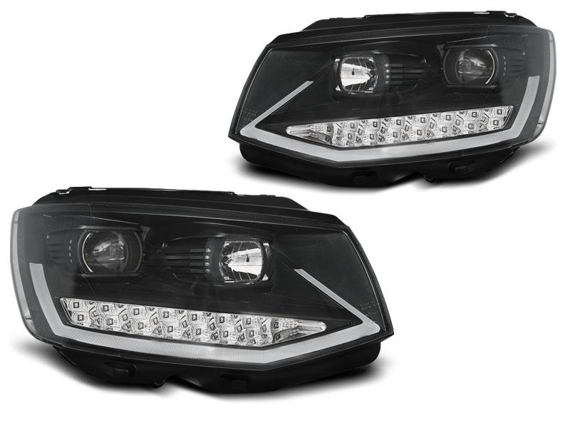 Přední světla, VW T6, 2015- , BLACK CHROME TUBE LIGHT LED DRL