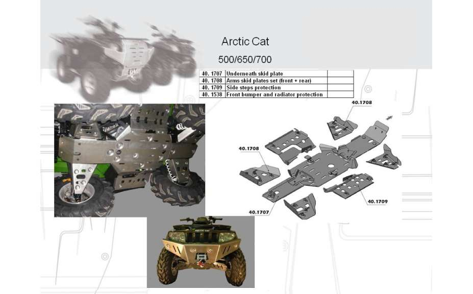 Kryty stupaček ATV QUAD, Arctic Cat EFI, 2007->, Hliník 4 mm