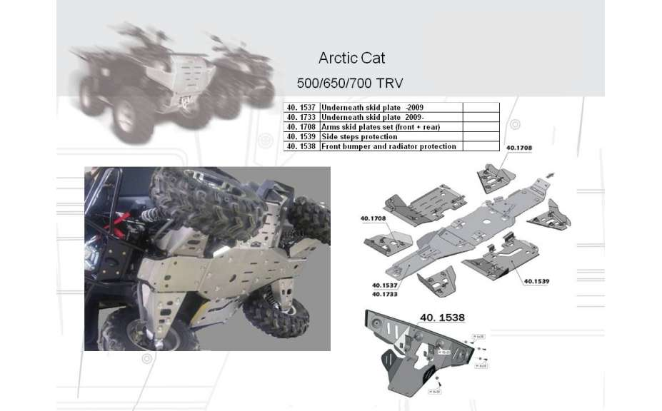 Kryty stupaček ATV QUAD, Arctic Cat TRV EFI, 2008->09->, Hliník 4 mm
