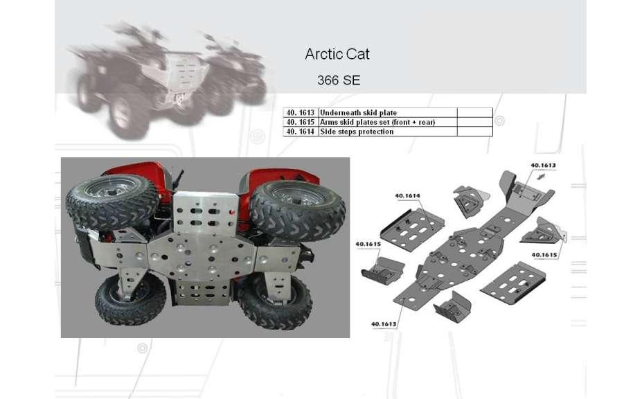 Kryt poloos (přední+zadní) ATV QUAD, Arctic Cat 366 Auto, 2008->, Hliník 4 mm