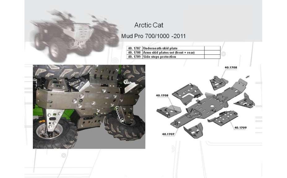 Kryty stupaček ATV QUAD, Arctic Cat Mud Pro H1, 2009->2011, Hliník 4 mm