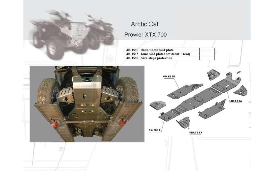 Kryt podvozku ATV QUAD, Arctic Cat Prowler XTX 700 EFI, 2008->, Hliník 4 mm