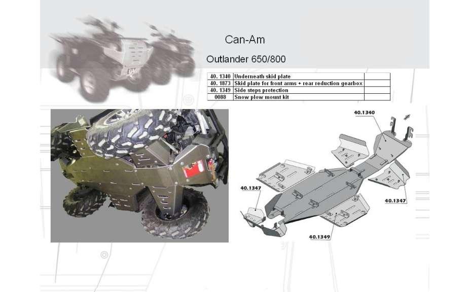 Montážní kit k sněžnému pluhu ATV QUAD, Can-Am (Bombardier) Outlander, 2007->, Ocel 5 mm