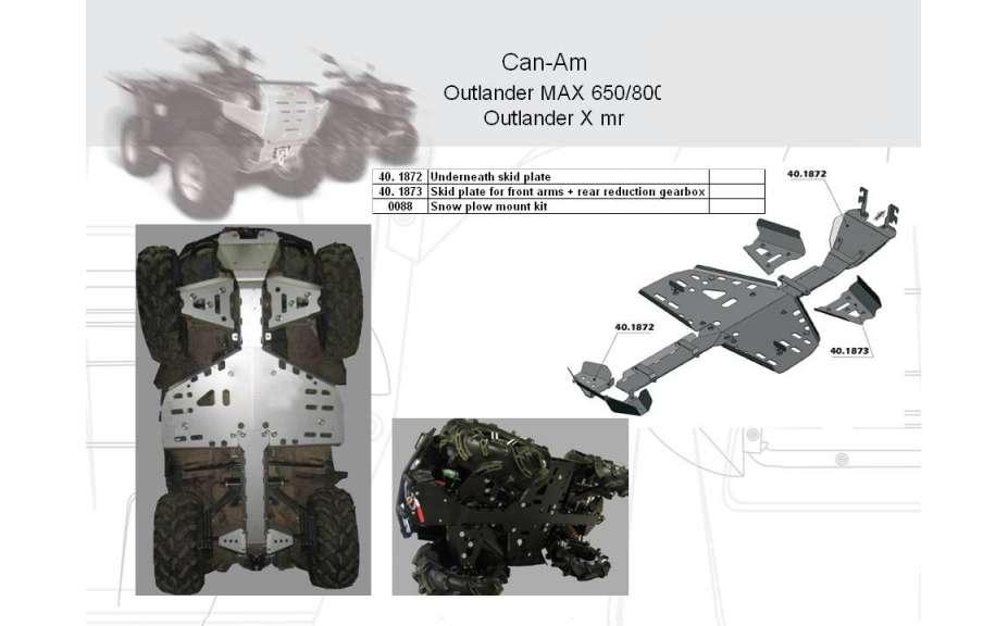 Kryty předních poloos a zadní redukční převodovky ATV QUAD, Can-Am (Bombardier) Outlander MAX