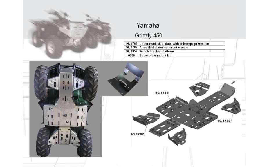 Držák k navijáku ATV QUAD, Yamaha Grizzly 450, 2009->, Ocel 5 mm