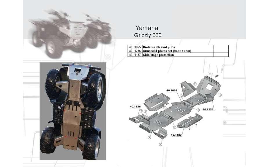 Kryt poloos (přední+zadní) ATV QUAD, Yamaha Grizzly 660, 2006->, Nerez ocel 2 mm