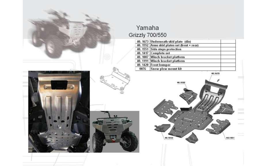 Kryt poloos (přední+zadní) ATV QUAD, Yamaha Grizzly 550/700, 2007->, Hliník 4 mm