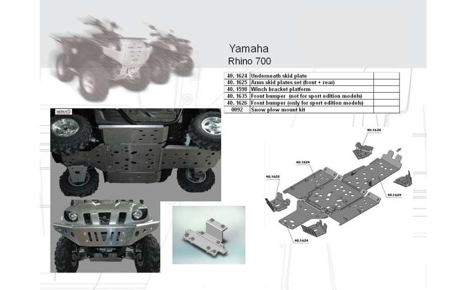 Kryt podvozku ATV QUAD, Yamaha Rhino 700, 2008->, Hliník 4 mm
